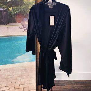 NWT Jason Wu black lace trim midi intimate robe